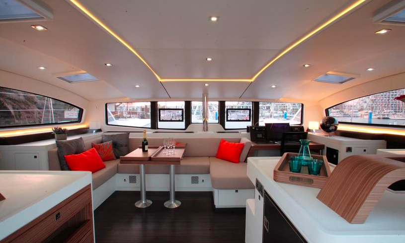 """The salon on the 5X. Notice how there are no obstacles. All the surfaces have are smooth and rounded. It's comfortable and simple, and perfectly safe when the conditions get """"sporty"""""""