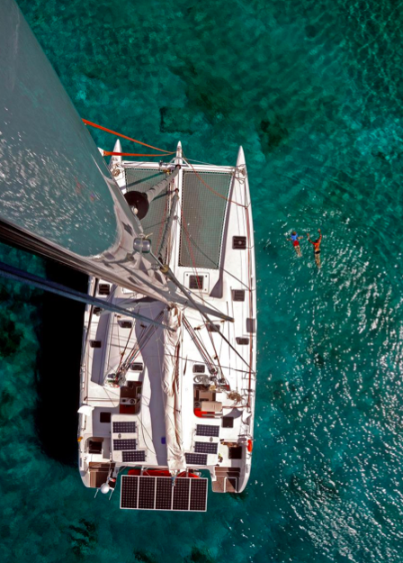 It's a long way down! The mast on the 5X is made of carbon fiber to save weight. It's also 87 feet high!