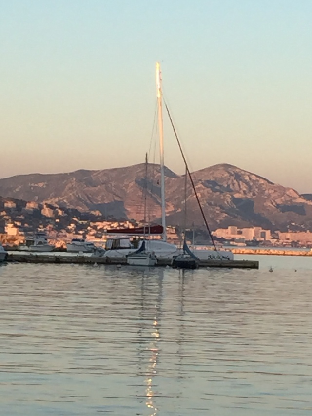 Docked at the Port du Frioul, you can see Marseille in the background