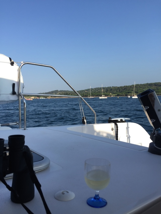 Enjoying a glass of wine in the anchorage in the Gulf of St Tropez