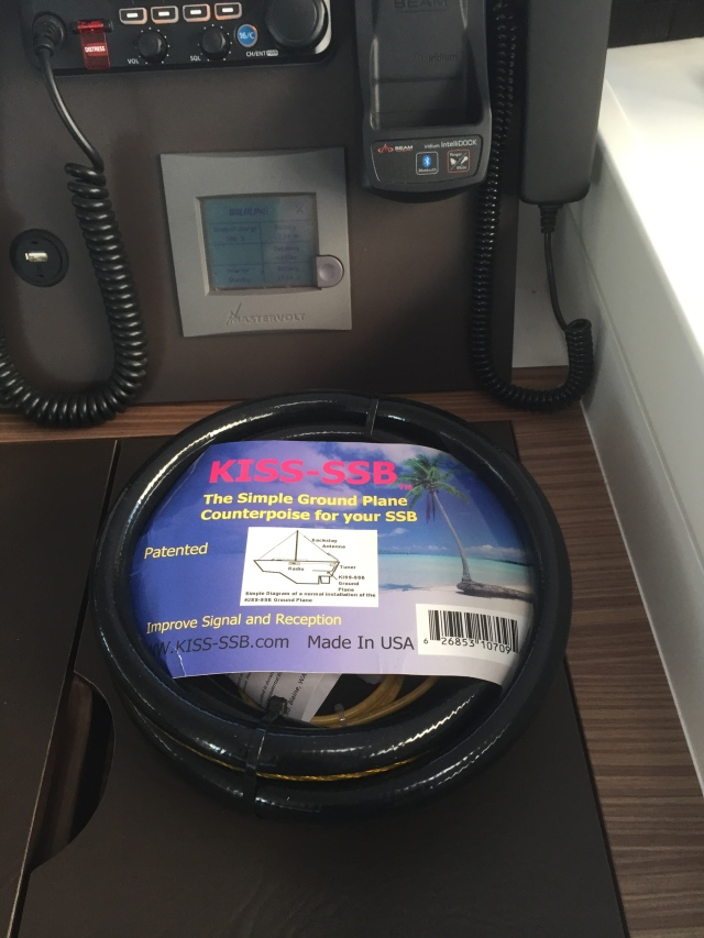 Counterpoise ground system for the HF radio. This system is basically a collection of tuned length wires that sit inside the boat and allow the antenna tuner to match the different frequencies used in marine HF radio.