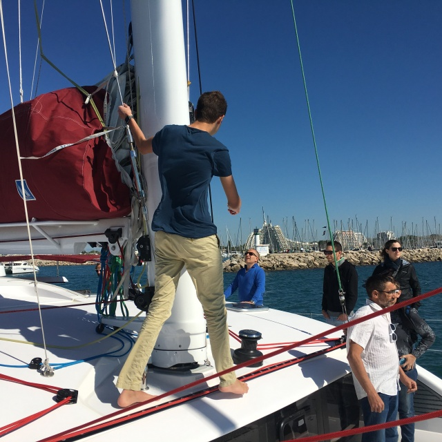 Gavin getting the mainsail ready to hoist