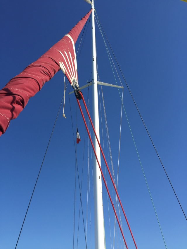 Attachment points for the extra headsails on the mast